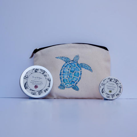 Eve of St Agnes Gift Set - Face cream and 100ml body cream in a turtle wash bag