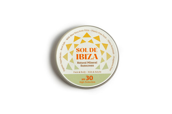 Plastic free vegan sun cream in aluminium tin by Sol de Ibiza