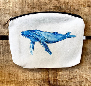 Whale Tail Art cotton wash bag - Humpback Whale