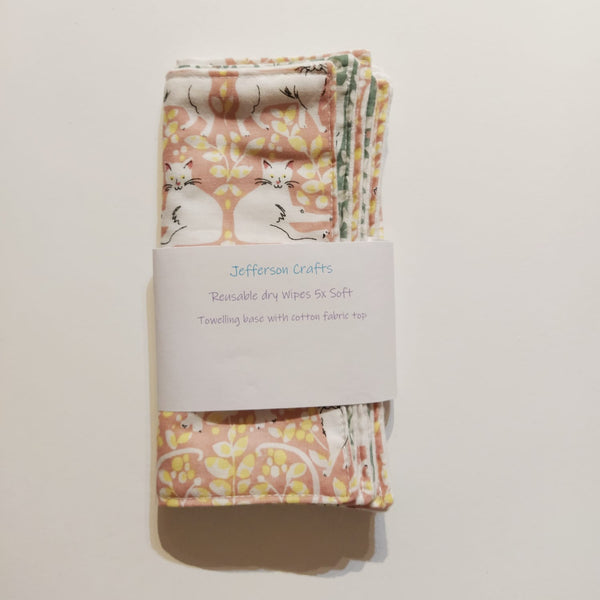 Jefferson Crafts hand made reusable Baby Wipes - cats design
