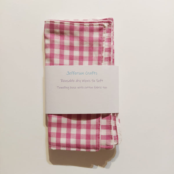 Jefferson Crafts hand made reusable Baby Wipes - pink gingham design