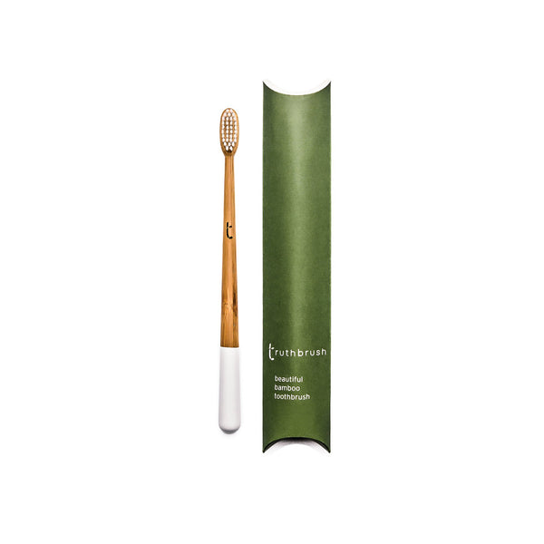 Bamboo toothbrush medium bristles white