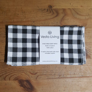 Reusable baby wipes - black and white checked