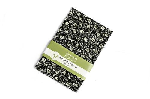 Plastic-free Vegan Wax Wraps Black flower 3 pack