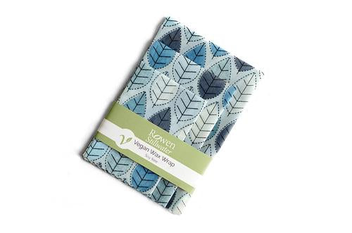 Plastic-free Vegan Wax Wraps 3 pack Blue Leaves