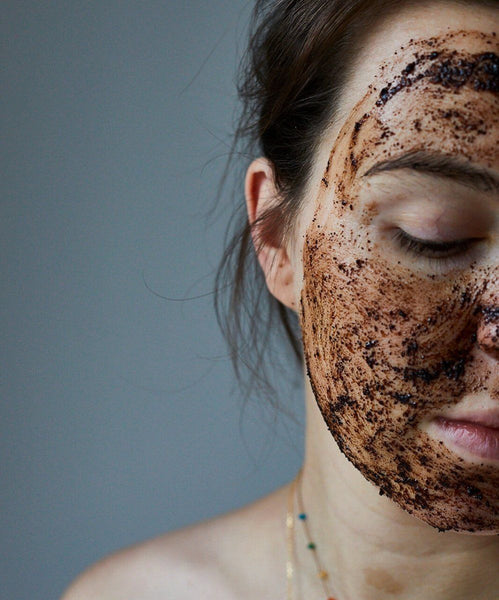 Coffee face scrub being applied