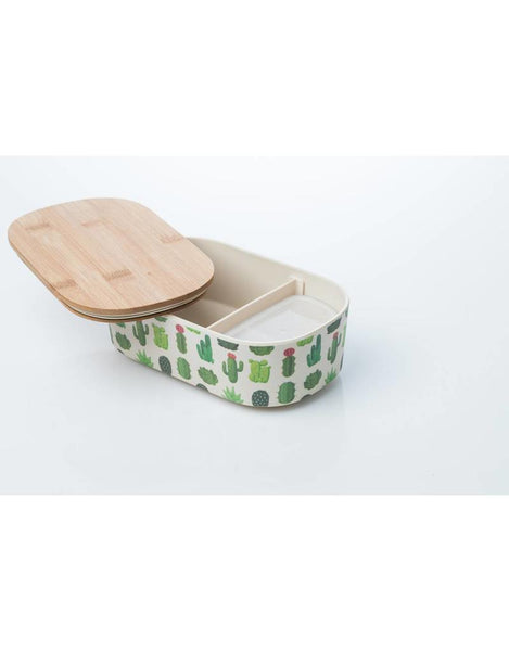 Deluxe Bamboo lunch box - cactus - inside