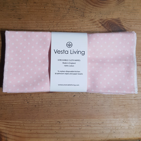 Reusable cleaning wipes - pink polka dot