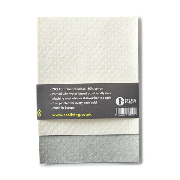 Pack of 4 plastic free compostable cloths - back of pack