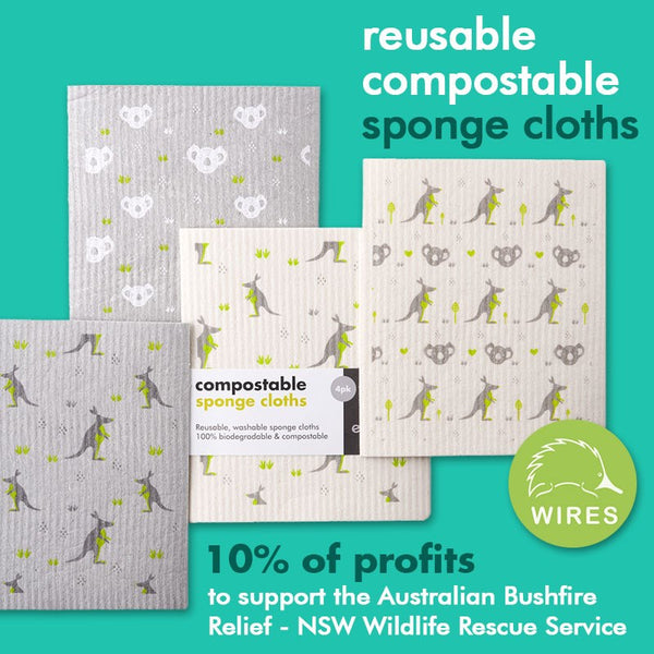 Compostable cloths with koala and kangaroo prints - 10% of profits donated to Wildlife rescue charity WIRES