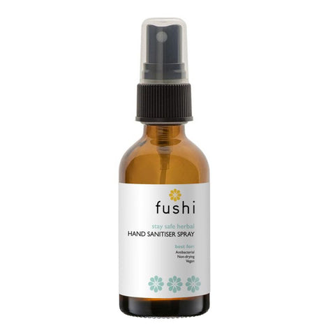Fushi natural hand sanitiser in glass spray bottle