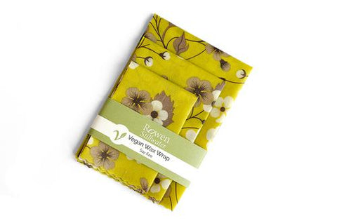Plastic-free Vegan Wax Wraps 3 pack Autumn Floral