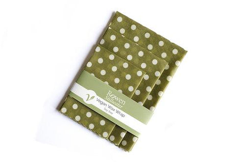 Plastic-Free Vegan Wax Wraps 3 pack  Green Polka Dot