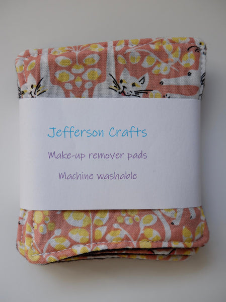Jefferson Crafts hand made reusable Make Up Wipes - Cats design