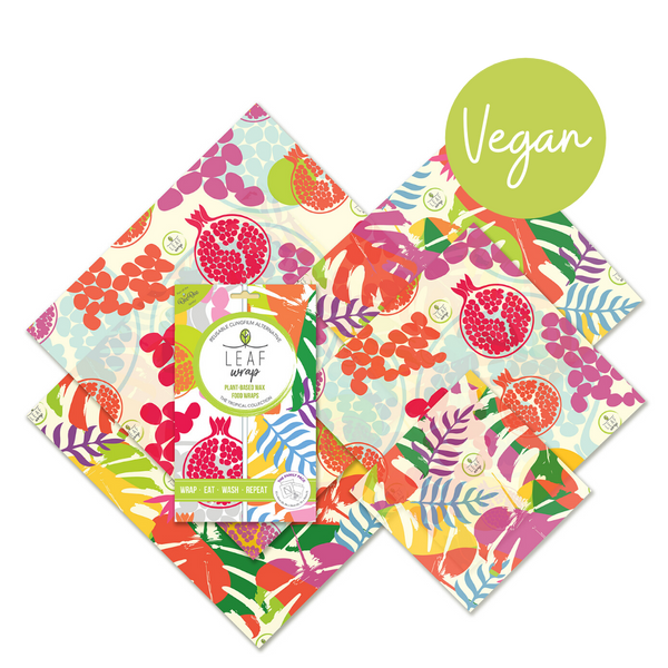 Beebee Leaf Vegan Wax Wraps - Family 5 pack - Botanic and pomegranate design