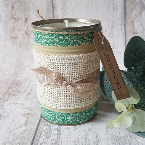 Upcycled lemongrass, ginger and lime candle. Green patterned tin with rustic bow