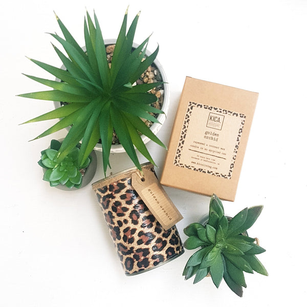 Kica Living - upcycled candle next to outer cardboard box and plants - leopard design