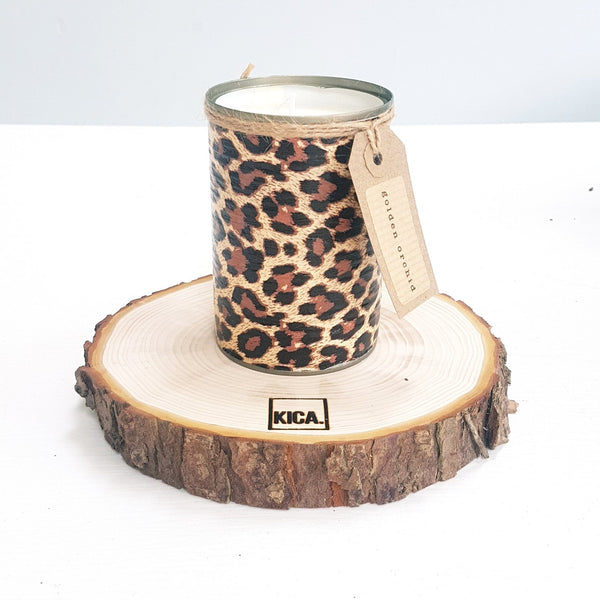 Kica Living - upcycled candle - leopard design