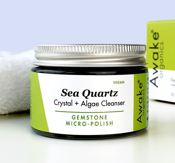 Awake Organics Sea Quartz plastic free cleanser - glass jar