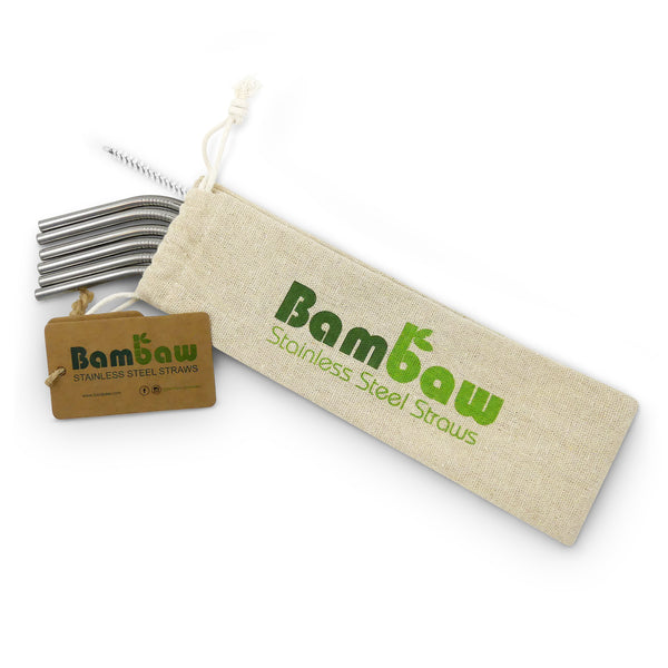 Stainless Steel Straws in cotton bag