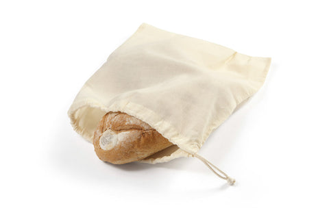 Drawstring Cotton Produce Bag - Large - with bread
