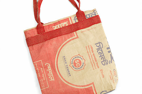 Upcycled cement bag - red shopping bag