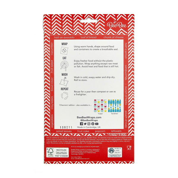 Beeswax wraps - Red Chevron - rear packaging