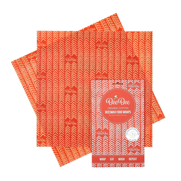 Beeswax wraps - Red Chevron - Sandwich pack