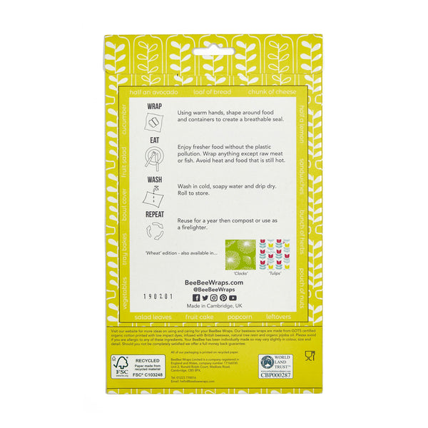 BeeBee Wraps Wheat Rear Packaging