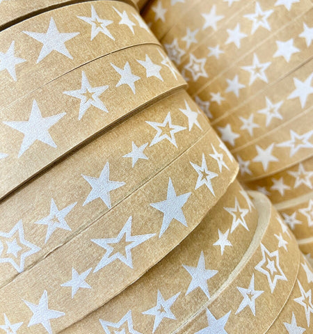 Naturally Wrapt - stack of paper tape with star design