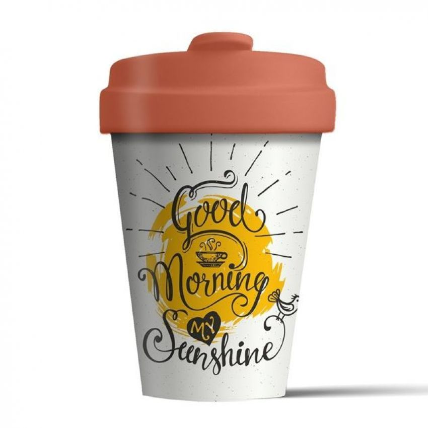 Reusable bamboo coffee cup -  good morning sunshine