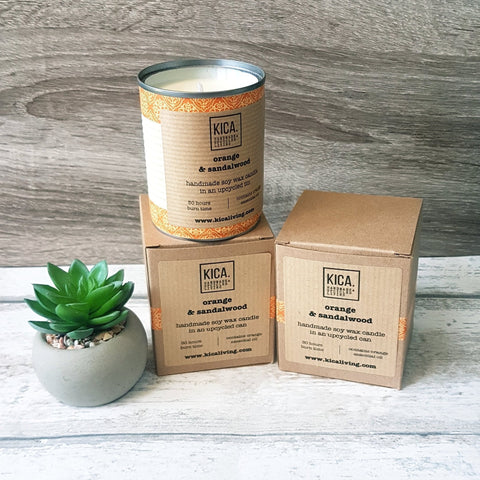 Kica Living - upcycled mini candle - orange and sandalwood. Hand-decorated orange tin with outer cardboard box