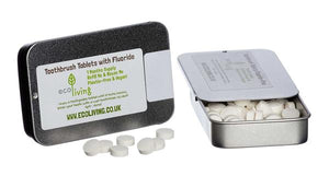 Refillable tin with natural toothpaste tablets x 60