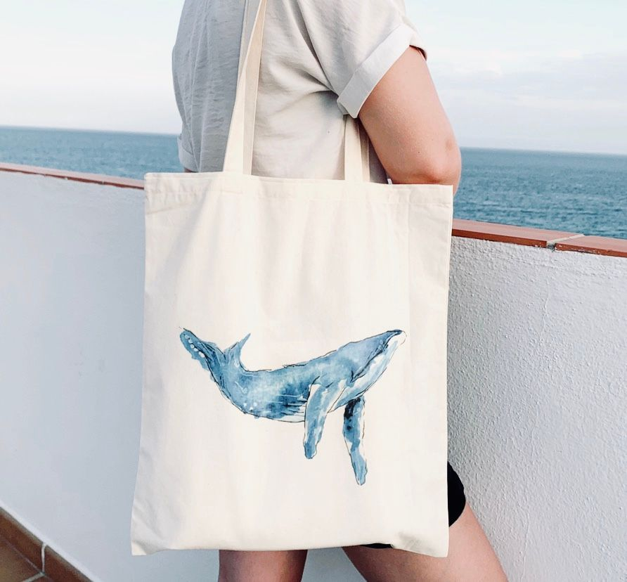 Whale Tail Art cotton shopping bag - Humpback Whale