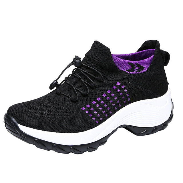 Thicken Soled Casual Shoes Fashion Elastic Mesh Sneakers