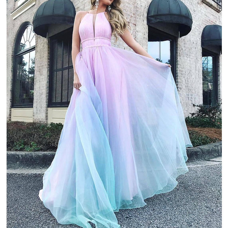 Women Sexy Sleeveless Gradient V NECK Evening Paty Dress