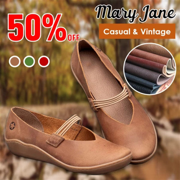 Women's Flat Comfort Leather Mary Jane Flats