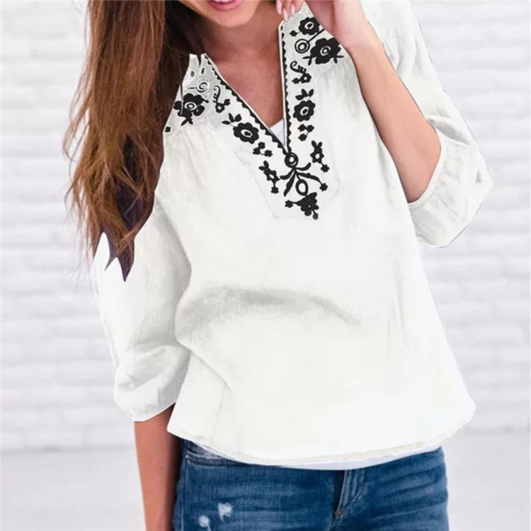 Printed Loose V-neck Solid Color 3/4 Sleeve Top