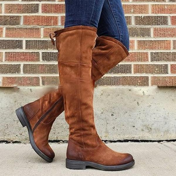 Retro Solid Flat Knee High Boots