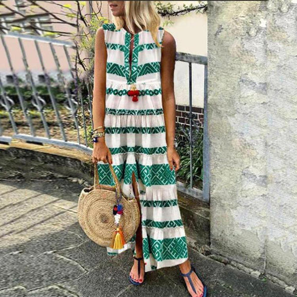 Bohemian V-neck Sleeveless Maxi Dresses