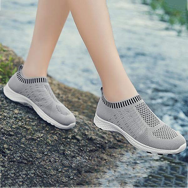 Women's Comfy Stitching Color Flat Sneakers
