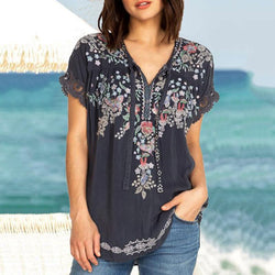 Casual Embroidered Lace V Neck Short Sleeve Blouses