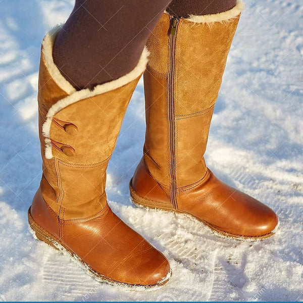 Round Toe  Button Winter Snow Boots