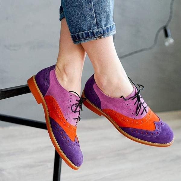 Handmade Color Matching Brogue Shoes Women Flat Shoes