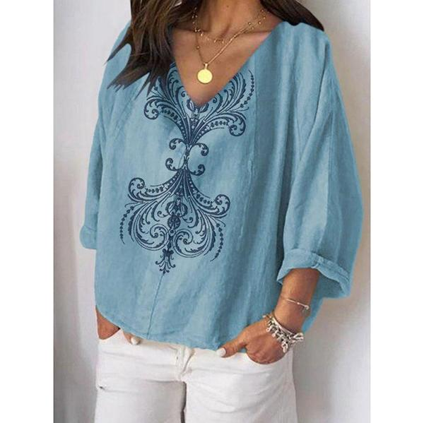 Women V-Neck 3/4 Sleeve Fall Blouses