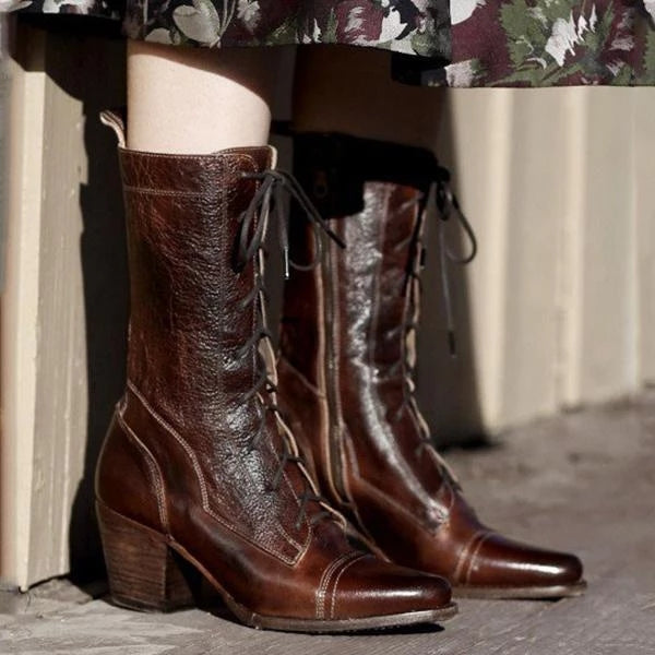 Fashion Chunky Heel Round Toe Women Side Zipper Boots
