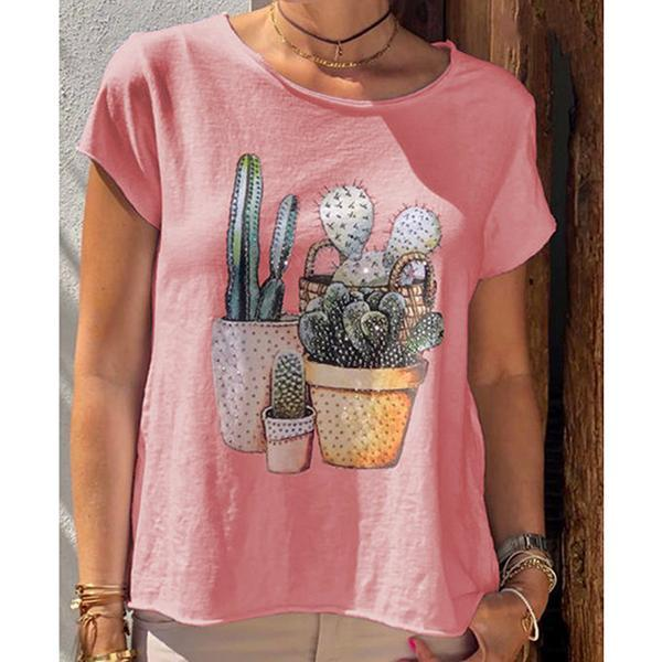 Casual Daily Short Sleeve Printed T-Shirt
