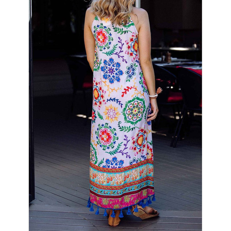 Plus Size Floral Printed Vacation Summer Maxi Dresses