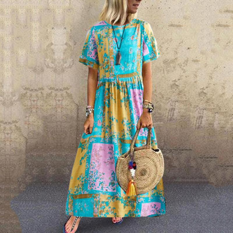 Round Neck Printed Short Sleeve Dress