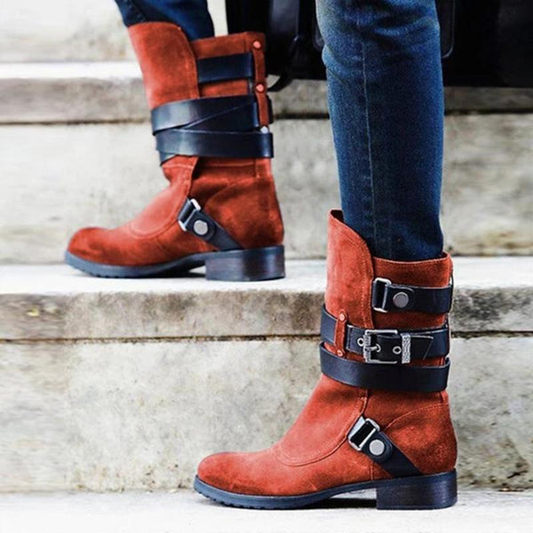 Fashion Plus Size Stylish Suede Chunky Heel Mid Boots